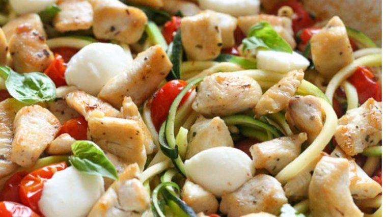 Chicken Zucchini Noodle Caprese
