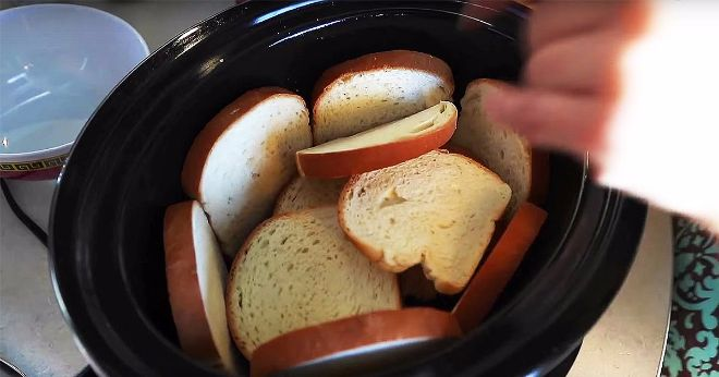 Put old Bread in a slow cooker before bed and wake up to a yummy breakfast