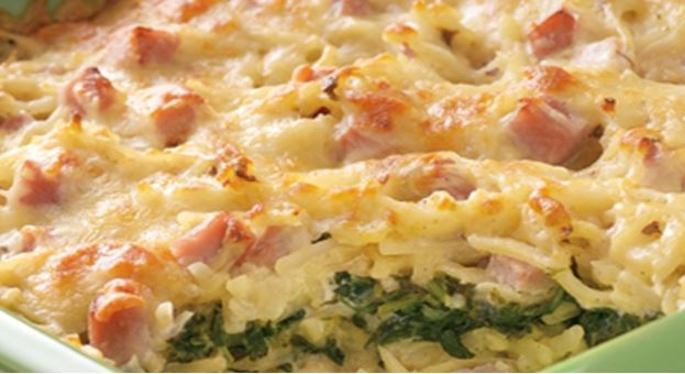 Ham and Swiss Hash Brown Bake
