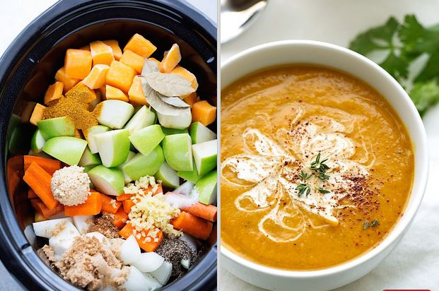 CURRIED BUTTERNUT SQUASH SOUP {SLOW COOKER}