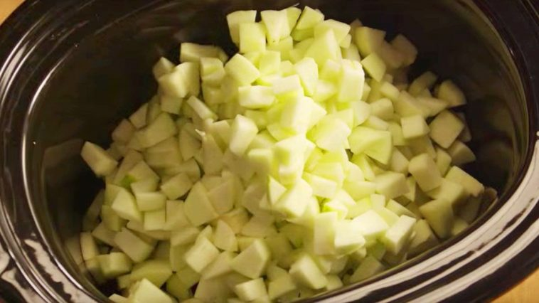 Apples go into a slow cooker to make a treat that will please your sweet tooth