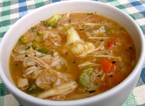 SLIM & DELICIOUS CHICKEN VEGETABLE RICE SOUP RECIPE