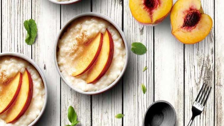 Slow Cooker Cardamom Rice Pudding Fresh Peaches