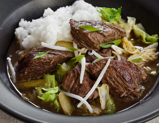 SLOW COOKER KOREAN BEEF STEW WITH NAPA CABBAGE AND PICKLES