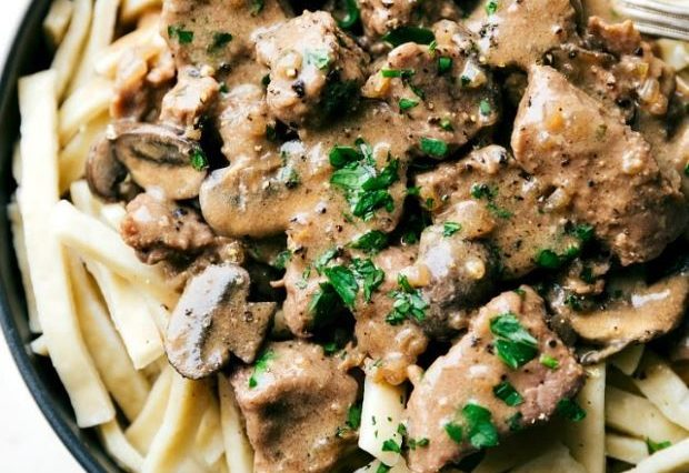 Crockpot Creamy Beef & Mushrooms Over Noodles