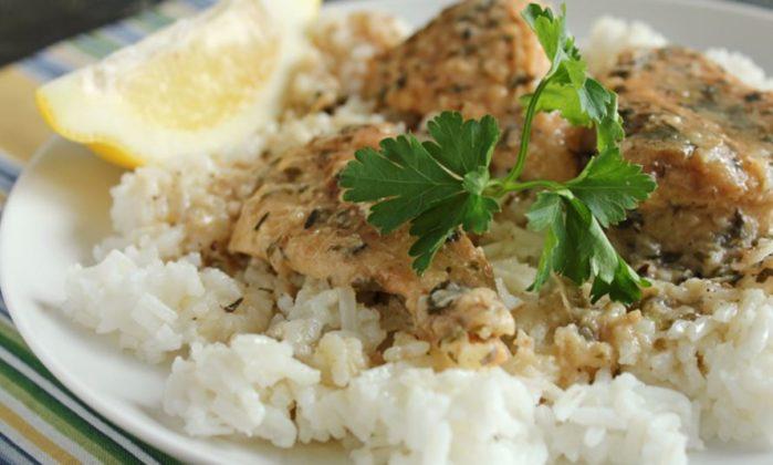 slow cooker lemon chicken over rice