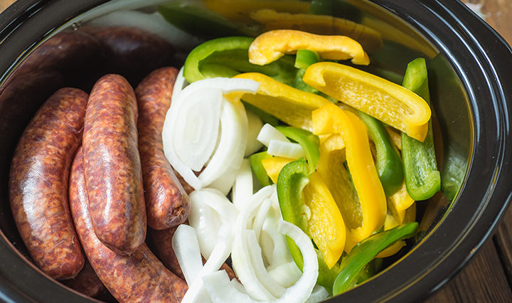 Slow Cooker Sausage, Peppers & Onions