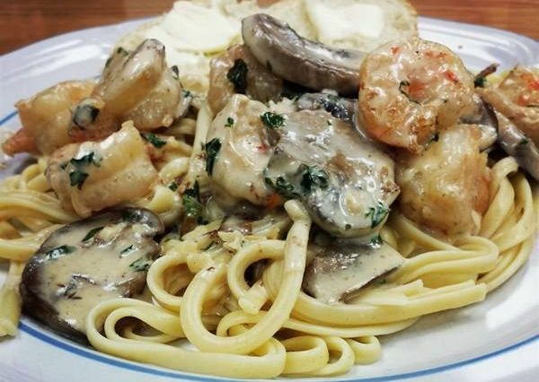 Shrimp and Mushroom Linguine with Creamy Cheese Herb Sauce